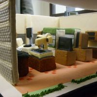 Interior Of The Building This is the lab inside the Building cake. As you can see, only the tables were cake, the rest are foam covered with fondant.