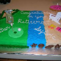 Retirement Cake With Golf And Beach Scenes