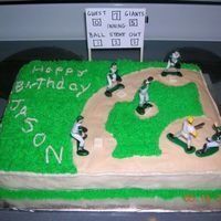 Baseball Field Cake White sheet cake with BC icing for grass and sand, fondant bases and Wilton Baseball set. I integrated child's team name and jersey...