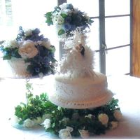 Seperate Wedding Cakes This cake was iced with buttercream and smoothed with a paper towel