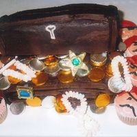 Pirate Chest And Pirate Cupcakes This was the first time I made a treasure chest and the cupcakes. They were for my grandson't birthday.