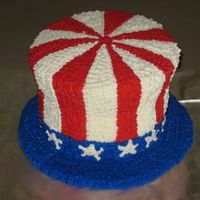 Uncle Sam's Hat  This is my first attempt at stacking cakes. I had fun and learned some things in the process. Also first time carving. Not as hard as I&#...