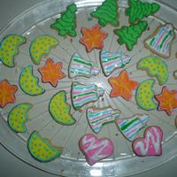 Colorful Cookies   these was my 2nd attempt at decorated cookies, just for fun ! pine trees, moons, hearts, stars and bells ...