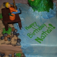 Fishing Birthday Cake Yellow cake and Buttercream. RKT fish covered MMF. Chocolat modeling clay pier.
