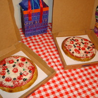 Pizza Cake We did a pizza theme for my son's birthday, he loved these cakes!