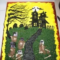 Creepy Graveyard Haunted House Cake