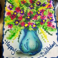 Flower Vase Airbrushed with btrcrm flowers