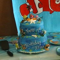 Grandsons2Nd B.d Cake Buttercream with Disney figurines and fondant sea shells