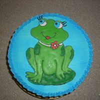 Lynn's Birthday Yellow cake, three shades of blue SWBC. My step-sister is crazy for frogs.