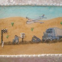The Great Race This cake I made for my dads 75th birthday. I have a cousin that flies for Delta, and my DH and brither both ride motorcyles, and my dads...