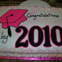 Graduation Cake Pink , black and white graduation cake all done in buttercream