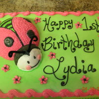 Lady Bug 1St Birthday Cake pink and green lady bug 1st birthday cake all done in buttercream icing.