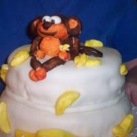 Sweet 16 Monkey Cake With Bananas Made this for my daughters sweet !6. First time I have ever done marshmallow fondant. The cake was sour cream pound cake with a crumb coat...