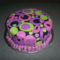 Teenage Birthday Cake  I was inspired by pinkbunny's whimsical cake. My friend's daughter liked the popular mod colors, so I decided to make this cake....