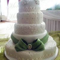 White Cake With A Moss Green Bow It was a huge (18/14/12/10/8) cake that I made for my cousins wedding. The couple was so happy. The first tier was to big to be put in the...