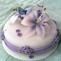 Purple Butterfly Fondant covered cake decorated with gum paste flowers and rice paper butterfly. TFL.