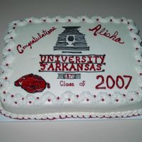 Alisha's College Graduation Red and white cake for daughter's college graduation