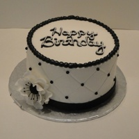 Black & White Birthday   I was glad to be able to do something simple & elegant. Buttercream w/ fondant accents & gumpaste anenome