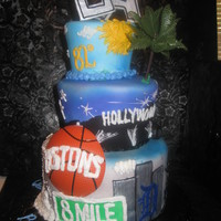 "Motown To La This was a going away cake for man being transfered to California for work. The sizes were 9"" 7"" and 5"". It was covered in..."