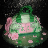 Pink And Green Handbag   Strawberry cake with mmf.