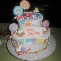 Candy Land Vanilla cake with buttercream frosting. The decorations were fondant and real candy.