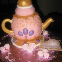 Aubrey's Teapot   The pot itself is vanilla cake, ball pan. The lid is RKT. It is all covered in fondant.