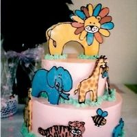 Baby Shower Zoo Animals Wbh Design A midnight chocolate cake with cookies and cream filling, vanilla SMBC frosting and WBH white chocolate transfer zoo animals. So fun to do...