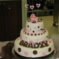 Baby Shower-Pink And Brown Made for a special baby who was born at 24 weeks! She weightd 11 ounzes. She's now over 3-1/2 lbs! Buttercream icing and fondant...