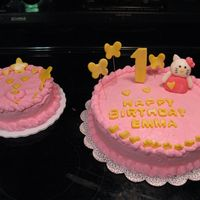 One Year Old Birthday Hello Kitty cake, very simple and small.