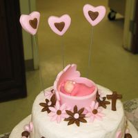 Baby Shower Topper Better view of the topper I made for my pink and brown baby shower cake.