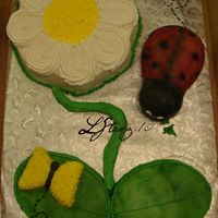 Ladybug And Flower Done for my nieces 1st birthday, modeled after 3monkeysmommy's cake. Dancing daisy pan, for flower, small oval for leaves, carved...