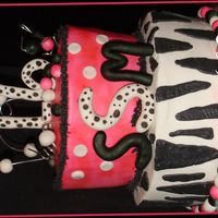 Super Sweet 16 Done for customer's sweet 16. Wanted zebra and polka dots with black pink and white theme. All buttercream with fondant accents. TFL...