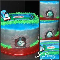 "Thomas & Friends Tunnels This was done for a friends boy turning 2. I used the decopac cake kit for topper. 2 8"" rounds iced smooth. Airbrushed color and..."