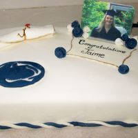 Penn State Graduation Cake This was another of the 3 graduation cakes I had to make for the same party. Edible image plaque, thanks to missyek for all of her help...