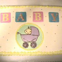Baby Buggy BC sheet cake with chocolate transfer baby buggy. Thanks for looking:)