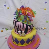 Fun And Funky Birthday Cake Made for my daughter 14th birthday. Bottom tier - chocolate, middle tier - neopolitan (choc, stawberry, vanilla), top tier - vanilla. Had...
