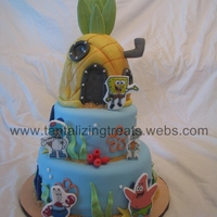 Spongebob Spongebob cake.. all fondant.. spongebob's house is made from rice cereal treats covered in fondant. Edible image plaques for the...