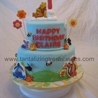 Winnie The Pooh Winnie the pooh for a first birthday.. edible i mage plaques for the characters, all fondant accents.