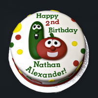 "Veggie Tales Birthday Veggie Tales birthday cake for a 2yo. 8"" cake, all fondant. Topper is fondant as well."