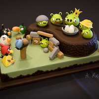 Angry Birds! Birthday cake for my 8yo son. Took me forever to get all of the figures done, but he was very specific in his list of characters! I'm...