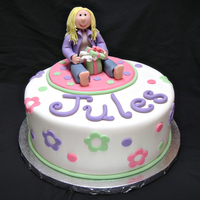 "Jules Birthday cake for a 7yo little girl. 10"" cake. Topper is all fondant."