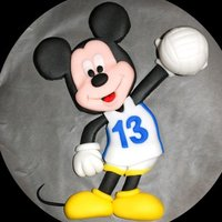 Mickey Mouse Volleyball Topper Fondant topper made for a friend's cake.