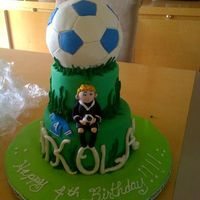 Soccer Cake This is a soccer cake for a good friend little boy turning 4. Thanks for the ideas from CC on the soccer ball. I would do things...