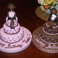 Birthday Girls Mini cakes made for two friends birthday. Everything made from fondant -- including figurines.