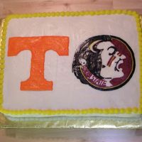 Tennessee - Florida Engagement Two of my friends had an engagement party. She went to Tennessee, he went to Florida State. It's an 11x15 covered in butttercream with...