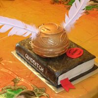 Golden Snitch On Quidditch Through The Ages Book This was for my son's birthday. The golden snitch was made using the Wilton ball pan, covered in Ivory Satin Ice fondant, added...