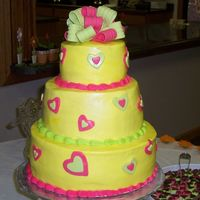 Daughters Bridal Shower Cake White cake with strawberry filing, second layer lemon with raspberry filing and top layer yellow cake with chocolate ganache filling. I...
