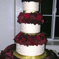 Rose Cake My friend asked me to do this cake for her, because she was planning her wedding in one week! Its a 12, 9, and a 6, made with B.C.,...
