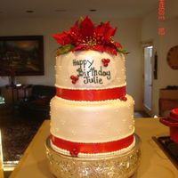 Poinsettia Birthday Cake This is a 8-10 stacked fondant cake, brushed with pearl luster dust and swiss dots. I also used silk flowers and matching red ribbon at the...