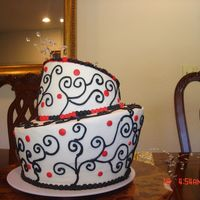 Black And Red Topsy Turvy My first topsy turvy cake....red velvet with creamcheese buttercream. TFL :)